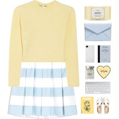 Yellow Stripes by thetreehuggers on Polyvore featuring polyvore fashion style Miu Miu Moschino Cheap & Chic ASOS Rebecca Minkoff Incase philosophy