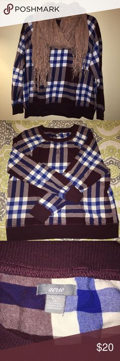 AE Plaid Printed Sweatshirt AE Plaid Printed Sweatshirt that is great for the upcoming fall season. Blue and Burgundy American Eagle Outfitters Tops Sweatshirts & Hoodies