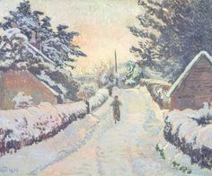 Lucien Pissarro - Ivy Cottage Coldharbour: Sun and Snow (1916)