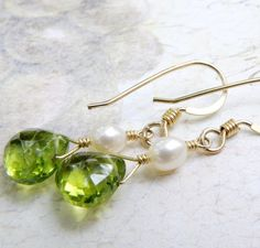 Peridot Gold Earrings Green Gemstone Pearl Handmade by fineheart