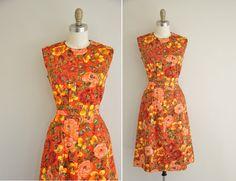vintage 1950s dress / 50s tangerine red floral dress / 1950s Flower Garden Dress
