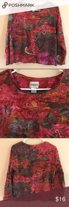 Chico's Size 2 (12/14) Multicolored Artsy Top Pretty multicolored 3/4 sleeves ladies top. Some embellishments throughout, size 12/14. Chico's size 2. Nice preowned condition. Chico's Tops