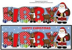 Santa and his Reindeers LIBBY large dl on Craftsuprint - Add To Basket!