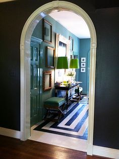 Love color & high gloss on doors and trim! Painted floor is incredible, too. Green Lamp Shade, Green Shades, Lamp Shades, Entry Hallway, Entryway, Entrance Foyer, Arch Doorway, Painted Floors, Painted Wood