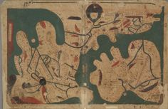 [The oldest extant] Rectangular Map of the World, from 'Kitāb Gharāʾib al-funūn wa-mulaḥ al-ʿuyūn' (The Book of Curiosities of the Sciences and Marvels for the Eyes), a 12th/13th century cosmographical manuscript composed in Egypt
