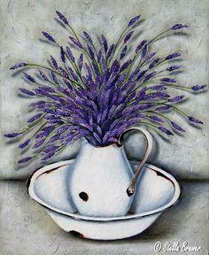 Art by Stella Bruwer white enamel basin with white enamel pitcher with lavender… Stella Art, Posters Vintage, Creation Photo, Decoupage Paper, Arte Floral, Vintage Diy, Vintage Flowers, Painting Inspiration, Art Pictures