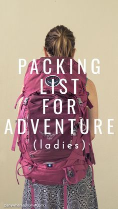 Women's backpacking/hiking packing list