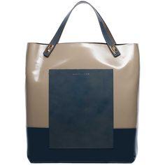 Balenciaga Varnished Pocket Tote M Clay/Black ($1,595) ❤ liked on Polyvore