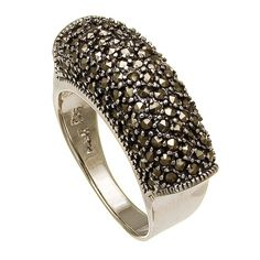 Art Deco Sterling Silver Marcasite Cluster Band Ring $32.00