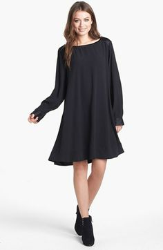 Eileen Fisher Bateau Neck Silk Dress (Regular & Petite) available at #Nordstrom