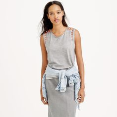 J.Crew Mixed Stone Gray 100% Cotton Jeweled Embellished Muscle Tank XS #JCrew #KnitTop #Casual