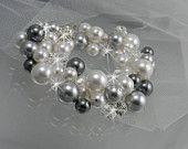 Pearl Bridal Bracelet, Crystal Cluster, wedding jewelry, Silver Gray Black Pearl Bridal jewelry Bridesmaids bracelet, Lillian Bracelet