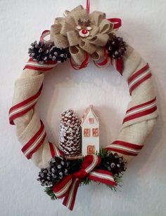 A wreath for Christmas Burlap Wreath, Christmas Wreaths, Spirit, Holiday Decor, Creative, Home Decor, Decoration Home, Room Decor, Burlap Garland
