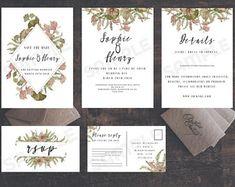 Romantic Floral  Wedding invite template printable download kit