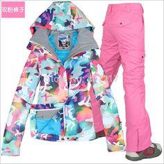 da9c5b7c4d 2017 New Ski Team Women s waterproof winter jacket + pants suits thicken  women for women s skis snow snowboard sets of breathing