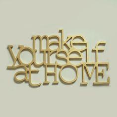 Goldenfarbiger Schriftzug MAKE YOURSELF AT HOME von Rabose Workshop auf DaWanda.com