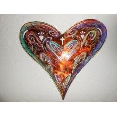 """Big Heart for God by Robert Shields I love his art.   Metal brushed and baked in a copper like finish.  Designed and hand painted by Robert Shields with detail. Two tabs on back for hanging along with the artist's signature. Approximately 16.5""""x17.5"""" Easy to hang. I  like his art under my eaves out front to greet people when the come to my door!"""