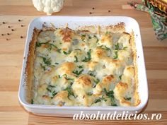 Although cauliflower isn't one of my favorite veggies, there are some cauliflower recipes that I really love. This cheesy cauliflower casserole is one of them :) It's creamy, cheesy and… Easy Cauliflower Recipes, Cauliflower Mushroom, Cheesy Cauliflower, Cauliflower Casserole, Stuffed Mushrooms, Stuffed Peppers, Vegetarian Entrees, Grated Cheese, Ratatouille