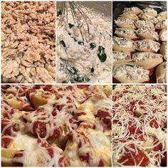 Jumbo Stuffed Shells. 1. Italian Sausage 2. Ricotta, Parmesan, Mozzarella, Garlic, Parsley, Spinach, 1 egg 3. Mix together 4. Top with Marinara and Mozzarella 5. Bake 35-40 minutes. Wah-Lah ❤️