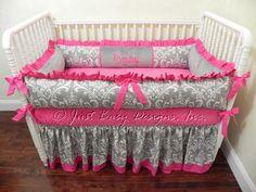 Custom Crib Bedding Emery - Gray Damask with Hot Pink by BabyBeddingbyJBD on Etsy https://www.etsy.com/listing/156663526/custom-crib-bedding-emery-gray-damask