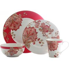 This Norah Red 16-piece Dinnerware Set features a something old, something new, Jacobean print set on a fashionable hue. Added with gold trail outlines, nothing else can ever be so fine.