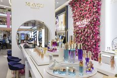 Maysu Cosmetics store concept with Spa. Crafted by Design Overlay. #Retail #Retail Design #Cosmetic Design Blog, Store Design, Visual Merchandising, Oriental, Retail Fixtures, Company Work, Boutique Stores, Retail Space, Design Furniture