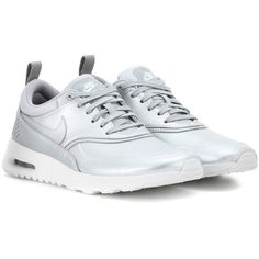 Nike Nike Air Max Thea Sneakers ($145) ❤ liked on Polyvore featuring shoes, sneakers, silver, kohl shoes, silver sneakers, nike trainers, black shoes and black sneakers