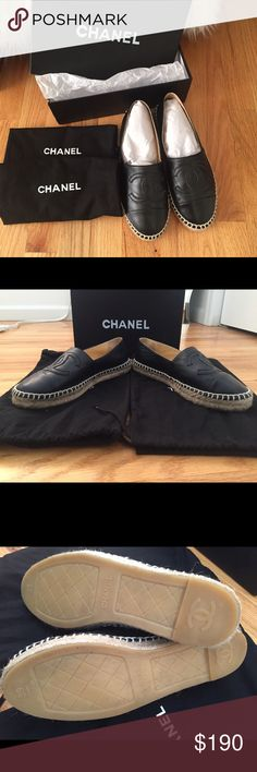 Chanel Espadrilles black lambskin size eu 39 These are not authentic, but high quality, you can't even see the difference, soft leather, comfy! They will fit size us 8-8.5 I wore them 2 times like new! CHANEL Shoes Espadrilles