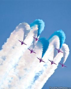 The Red Arrows in Flight - Cosford Air Show - Birmingham England