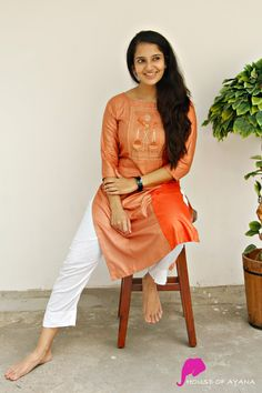 Warli Panel Kurti with Cigarette Pants - House of Ayana Dress Indian Style, Indian Dresses, Printed Kurti Designs, Salwar Suits Simple, Simple Kurta Designs, Saree Photoshoot, Saree Models, Weekly Outfits, Ethnic Dress