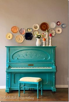 This room is incredible. LOVE the turquoise piano! texasaggie This room is incredible. LOVE the turquoise piano! This room is incredible. LOVE the turquoise piano! Plate Wall Decor, Plates On Wall, Painted Pianos, Painted Furniture, Colorful Furniture, Turquoise Furniture, Turquoise Room, Colorful Decor, Turquoise Table