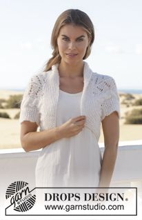 """Knitted DROPS bolero with cables and lace pattern in """"Alpaca Silk"""" and """"Alpaca"""". Size S-XXXL ~ DROPS Design"""