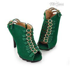 Green Stiletto Heel Buckle High Sandals