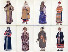 various kind of traditional Russia Clothing