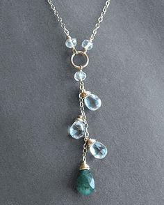 Aquamarine & Emerald Cascade Handmade Necklace at Dasha Boutique