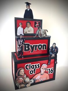 Even after making gift card boxes for years, I still get energized  when given a variety of fun and good resolution photos to work with. Here's one for a graduation gift card money box for a graduate of Class of 2016.
