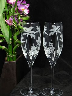 Palm Tree Champagne Flutes, perfect for the beach or tropical destination wedding.  Available at www.BradGoodellWeddings.com