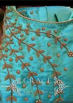 Ideas Embroidery Dress Baby For 2019 Embroidery On Kurtis, Hand Embroidery Dress, Kurti Embroidery Design, Embroidery Neck Designs, Embroidery On Clothes, Embroidery Fashion, Aari Embroidery, Embroidery Suits, Embroidery Stitches