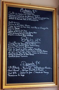 Inspired by french cafe menus, Perfect for an event