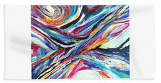 Original Contemporary Abstract Expressionist Artwork.dynamic Dramatic Vibrant Colorful Full Of Movement And Texture. Black And White Accent Every Color Of Layered Strokes Beach Sheet featuring the painting Sensational by Expressionistart studio Priscilla Batzell