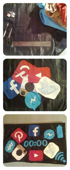 Do it yourself Social logo pillowcase :)  pin,twist or glue, nipper,ruler and bad shirt or trousers. #decoupage