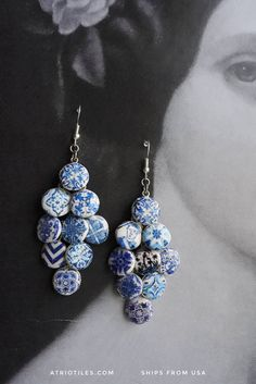 The Blue tiles are from the University of Evora inner courtyard. This university is the 2nd oldest university in Portugal founded in 1559. Every room is covered with amazing tile murals. Gorgeous and in perfect condition! These gorgeous earrings measure 7cm long. They will come in a gift box. All my tiles are replicas made of polymer clay where the image actually becomes part of the clay through baking. No glue is used in the process. The pieces become waterproof and scratch resistant. Due…
