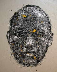 Craig Paul Nowak abstract drip portrait Black and White and Yellow Drip Painting, Abstract Portrait, Jackson Pollock, Pictures To Paint, Paintings, Black And White, Yellow, Art, Paint