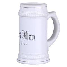 Best Man with Wedding Date Mugs. Customizable.