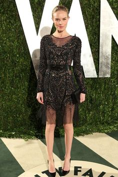 Kate Bosworth wearing Prabal Gurung Fall 2012 Rtw Sheer Embroidered Dress, Christian Dior Beaded Pochette, Christian Louboutin Pigalle Point-Toe Pumps and Fenton For Prabal Gurung Fall 2012 Double Steer Belt.