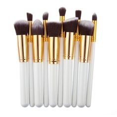 Cheap makeup brush set, Buy Quality brush set directly from China cosmetic set Suppliers: 10 Pcs Silver/Golden Makeup Brush Set Cosmetics Foundation Blending Blush Makeup Tool Powder Eyeshadow Cosmetic Set