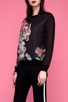 Dezzal - Dezzal Tiger Pattern Mesh Sweatshirt - AdoreWe.com
