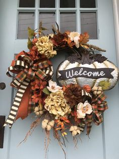 Silver Pumpkin wreath for front door, Fall Floral Farmhouse wreath, fall Welcome sign wreath with for front door, farmhouse wreath, by DesignsbyDebbyOhio on Etsy Pumpkin Wreath, Wreath Fall, Burlap Wreath, Rustic Wreaths, Autumn Wreaths, Etsy Wreaths, Indoor Wreath, Fall Door Decorations, Wreaths For Front Door