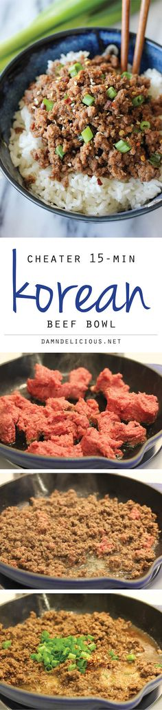 Beef Bowl Korean Beef Bowl - Tastes just like Korean BBQ and is on your dinner table in just 15 minutes!Korean Beef Bowl - Tastes just like Korean BBQ and is on your dinner table in just 15 minutes! Korean Beef Bowl, Korean Bbq, Asian Beef, Korean Food, Korean Dishes, Think Food, Love Food, Asia Food, Asian Recipes