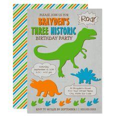 Three Historic Dinosaur Third Birthday Invitation